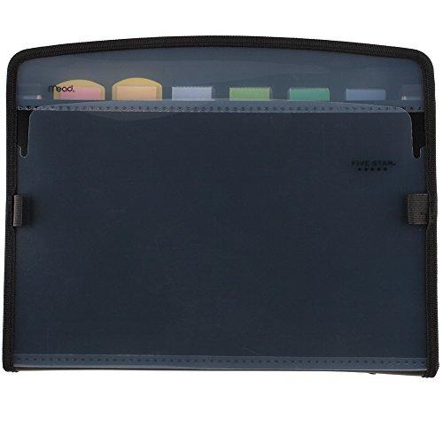 Five Star Expanding File, 7-Pocket Expandable Filing Folder,, Zipper Closure, Customizable, Tabbed, Tabs, Black (72709)