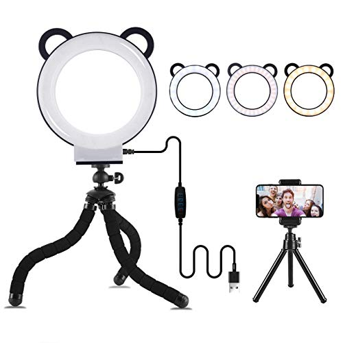Lusweimi LED Ring Light 6 Inch with Tripod Stand for YouTube Video and Makeup, Mini LED Camera Light with Cell Phone Holder Tabletop Lamp with 3 Light Modes and 11 Brightness Level (Black)