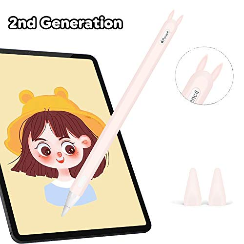 Silicone Case for Apple Pencil 2nd Generation Holder Sleeve Skin Pocket Cover Accessories Kit for iPad Pro 11 12.9 inch 2018, Cute Rabbit Soft Grip Pouch Cap Holder and 2 Protective Nib Covers (Pink)