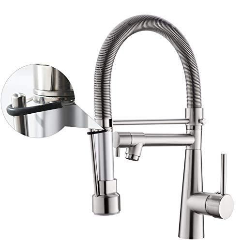 TIMACO - Grifo de cocina con luz y muelle en espiral, giratorio 360°, con dos cañas, grifo de cocina y ducha extraíble, alta presión, níquel cepillado