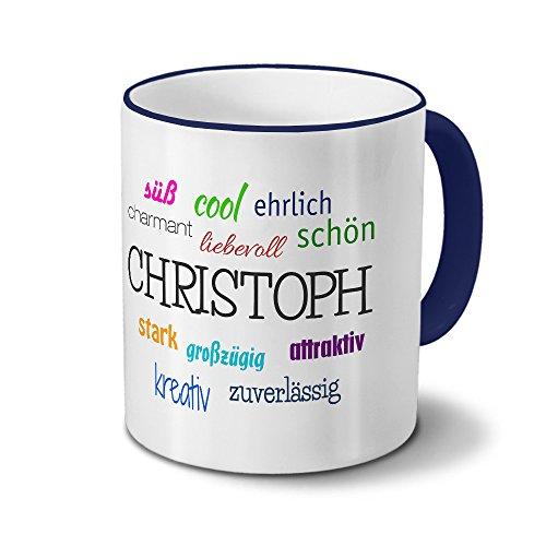 printplanet Tasse mit Namen Christoph - Positive Eigenschaften von Christoph - Namenstasse, Kaffeebecher, Mug, Becher, Kaffeetasse - Farbe Blau