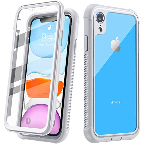 Justcool Designed for iPhone XR Case, Clear Full Body Heavy Duty Protection with Built-in Screen Protector Shockproof Rugged Cover Designed for iPhone XR Cases (2018) 6.1 Inch … (White)