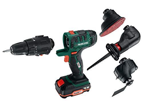Dispositivo combinado 4 en 1 con batería, atornillador, multilijadora, sierra de sable, taladro