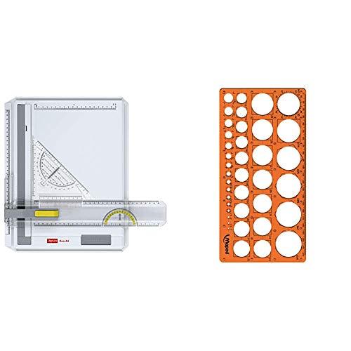 Aristo AR70442 Geo-Board Zeichenplatte (Format: A4, schlagfester Kunststoff, inkl. Schnellzeichendreieck AR7090) weiß & Maped - Kreis-Schablone TECHNIC, für Kreise Durchmesser 1-35 mm - orange