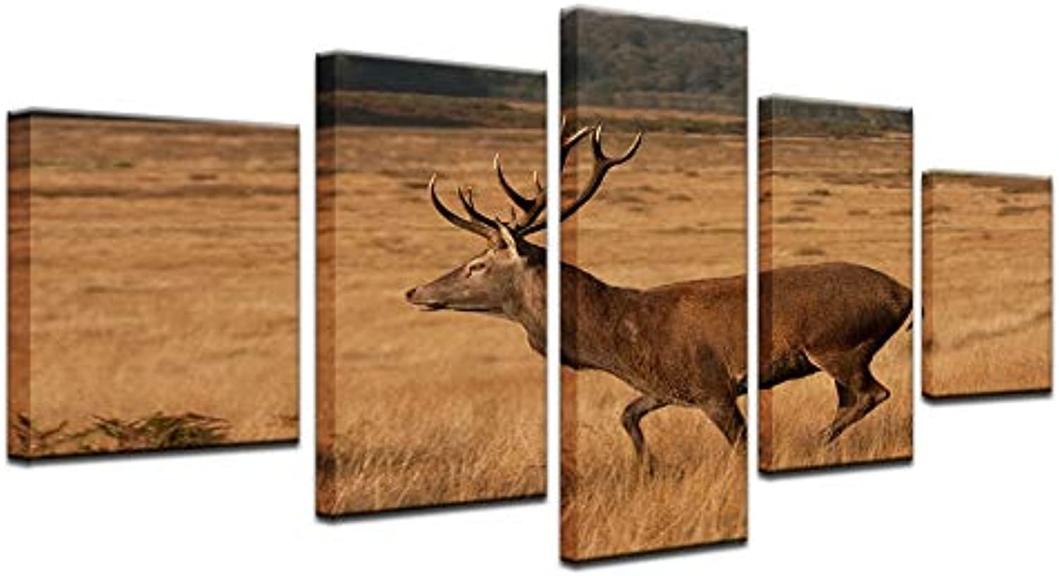 Canvas Painting Wall Art Pictures for Living Room Decorative Frame 5 Panel Modern HD Printed Prairie Animal Deer Poster