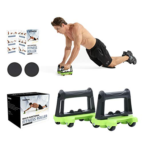 Tikaton Multi-Functional Fitness Roller AB Roller, Strength and Ab Trainer Roller, Set of 2, Green