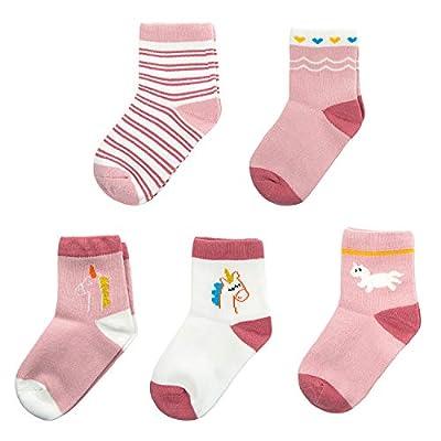 Joeyer Calcetines para Niña, 5 Pares Unicornio Calcetines de Algodón Otoño e Invierno Calcetines de Lindo Cómodo
