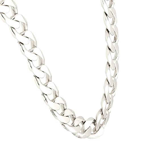 Jollys Jewellers Cadena de plata de ley de 51,4 cm (9 mm de ancho)