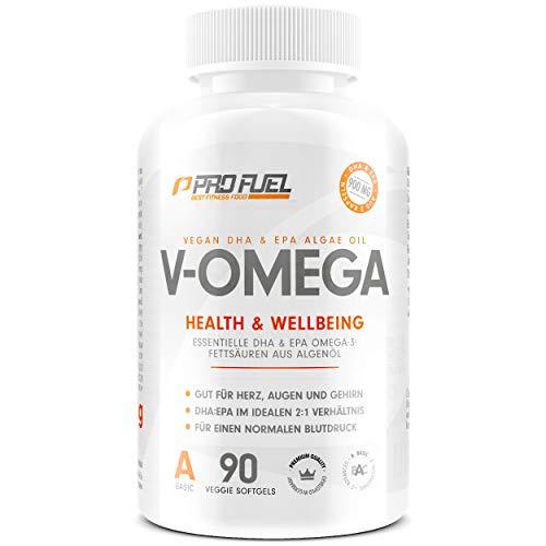 Omega-3 Vegan aus Algenöl [1.100 mg] | hochdosiert - 300 EPA and 600 DHA | hochwertiges Omega-3 Öl in Kapseln (vegan) | Besser als Fischöl! V-OMEGA - 90 Kapseln