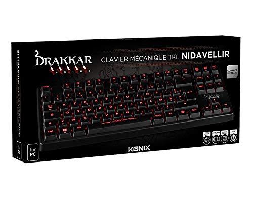 Konix Drakkar Nidavellir - Clavier Gamers AZERTY Retro Éclairé Rouge - Anti Ghosting - Clavier Semi-Mecanique Gaming Pour PC, Mac - Repose Poignet - Clavier Gamer LED Filaire