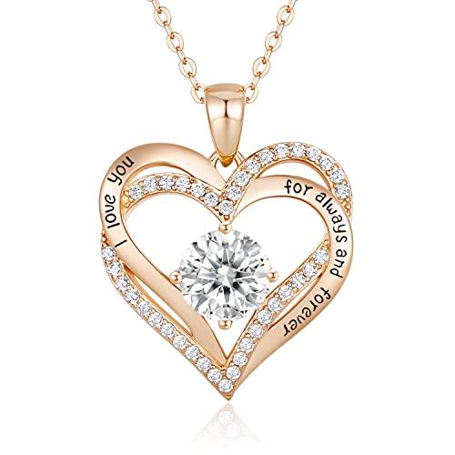 CDE Collares de Corazón para Mujer de Plata 925 Collares Colgante de Mujer Colgante de Diamantes Niña, con Caja Regalo, Regalo para Día de la Madre Esposa y Novia Blanco
