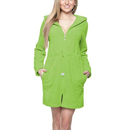 Aquarti Bata Corta con Capucha y Cremallera para Mujer, Color: Verde, Größe: S / ES38