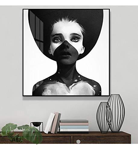 wZUN Pintura de niña de carácter Minimalista nórdico Pintura de Lienzo Mural y Pintura de decoración de Sala de Estar Familiar 60x60 Sin Marco