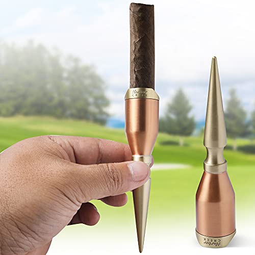 Harbor Creek Golf Cigar Holder, Unique Copper and Brass Cigar Stand for Golfers, Includes Suede Pouch and Handsome Gift Box, Perfect for Any Golfing Cigar Lover