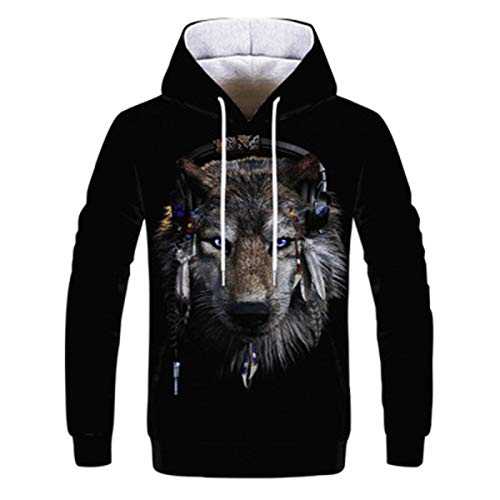 SLYZ Men's Autumn and Winter All-Match Clothes 3D Digital Printing Long-Sleeved Loose Casual Men's Top