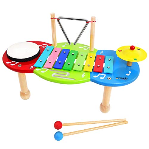 keepdrum Kinder-Musiktisch Glockenspiel mit Schlagzeug Percussion-Set