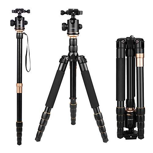 Andoer Q666 Stativ Kamera Stativ 156CM, Aluminum Reisestativ mit Einbeinstativ und 360° Panorama Kugelkopf für Canon Nikon Sony Spiegelreflexkamera bis zu 5kg