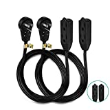 Nekteck [UL Certified] 8 Feet Power Strip Extension Cord [2 Pack] 360 Degree Rotating Angled Flat Plug with 3 Electrical Power Outlets, 16AWG 3 Prong Grounded Wire