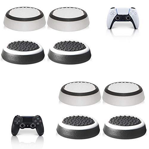 MatoSan® Kappen Zubehör-Set | Aim Kontrolle & Assist für Playstation 5, Playstation 4, Xbox, Switch-Controller Sticks | FPS Boost + Grip | 8x Black & White-Grips
