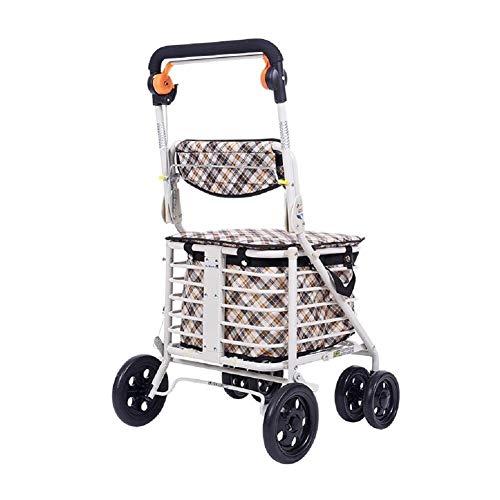 JJZXPJ boodschappentrolley, inklapbaar, draagbaar, hoge capaciteit, met gewatteerde rollator voor het winkelen van levensmiddelen