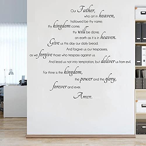 SSCLOCK Nuestro Padre Oración del Señor Pegatina de Pared Cristiana Religiosa Biblia oración Amen calcomanía Dormitorio Cocina póster 56x52cm