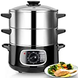 Secura 2 Stainless Steel Food Steamer 8.5 Qt Electric Glass Lid Vegetable Steamer Double Tiered...