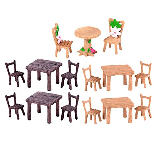 DOITOOL 5 Sets Fairy Garden Furniture Ornament Miniature Table and Chairs Set Fairy Village Figurine for Dollhouse Accessories Home Micro Landscape Decoration
