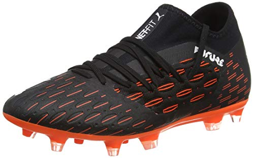 PUMA Future 6.3 Netfit FG/AG, Zapatillas de fútbol Hombre, Negro Black White/Shocking Orange, 42.5 EU