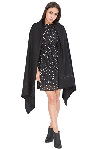 likemary Damen Schal Schultertuch aus 100% Merino Wolle - Poncho Stola XXL Tuch & Umschlagtuch - für Frauen - Kreuzt Motiv schwarz