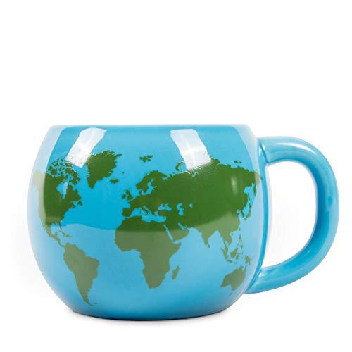 el & groove 3D Globus Tasse in blau, Teetasse 300 ml (350 ml randvoll), Kaffee-Tasse aus Porzellan, Weltkarten Tasse, Atlas Reiseziele, Deko Becher, Geschenk Weihnacht, Geschenk für Weltenbummbler