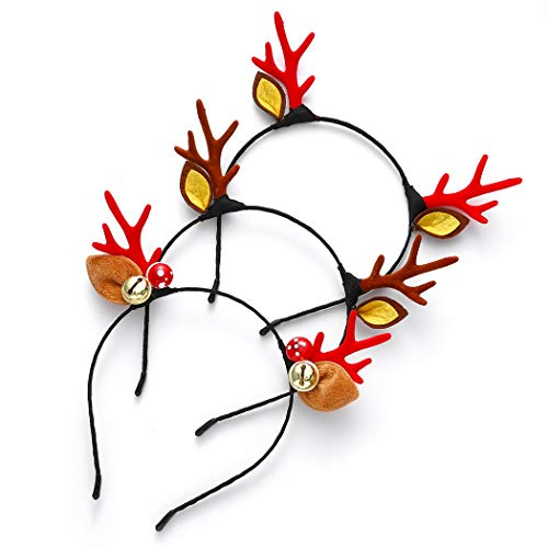 Campsis Christmas Headbands Cute Reindeer Antlers Headbands with Ears Headpiece Xmas Hair Hoop Christmas Holidays Party Favors Gifts Costume Headwear Decoration Accessories for Women and Girls (3 PACK)
