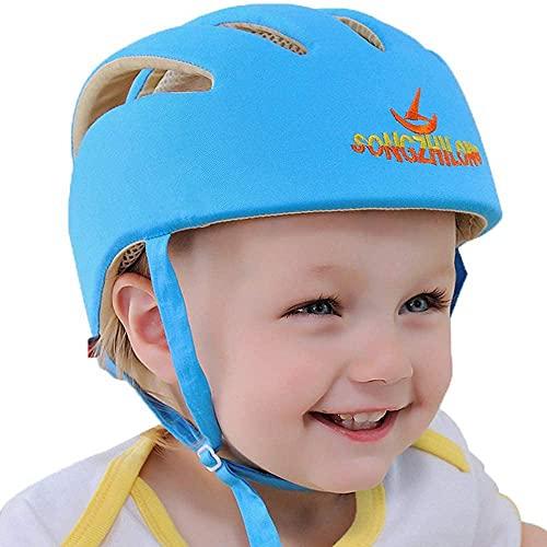 IULONEE Casco de protección para bebé, gorra protectora para cabeza de bebé, gorra de algodón ajustable(Azul)