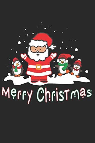 Merry Christmas: Weihnachtsmann mit Pinguin Helfer - A5 Notizbuch 120 karierte Seiten -Thematisches Weihnachtsjournal, Weihnachtsorganisator Planer, ... Party Planer, Adventsplaner zum Schreiben.