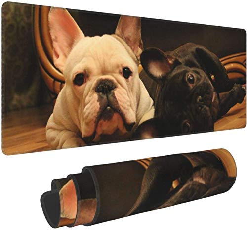 Cute French Bulldog GraphicsLarge Gaming Mouse Pad XL,Extended Large Mouse Mat Desk Pad, Stitched Edges Mousepad,Long Non-Slip Rubber Base Mice Pad,31.5X11.8 Inch