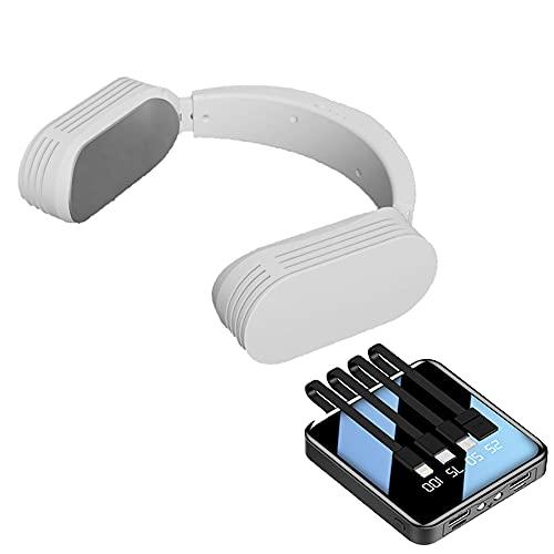 ネッククーラーEVO 白サンコー 静音 軽量 首かけ 最新 携帯扇風機 USB充電式 長時間使用 20000mAHバッテリ―付き
