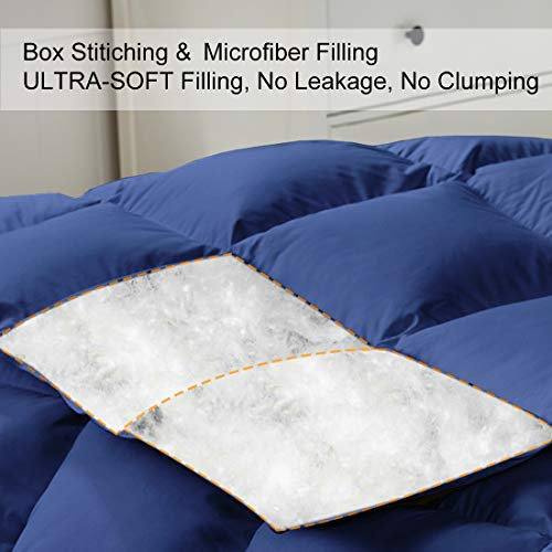 COHOME King 2100 Series Warm Comforter Down Alternative Quilted Duvet Insert with Corner Tabs All-Season - Plush Microfiber Fill - Reversible - Machine Washable - Navy Blue