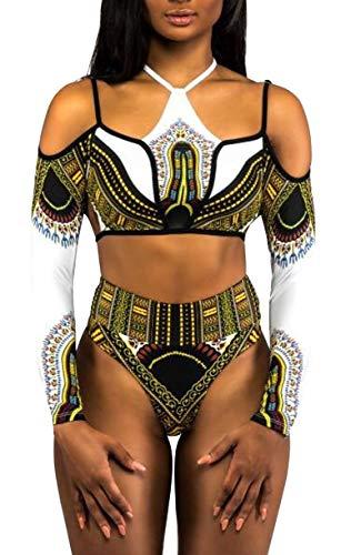Costumi Interi Senza Spalline Schienale Monokini Sexy Donna Hot Bikini Etnico Boho Hippie Chic Costume da Bagno Nuoto Surf Spa Mare Trikini Push Up Tankini Stampa Africana Swimwear Coordinato Swimsuit