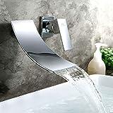Wasserhahn Wasserfall Wandmontage Waschtischarmatur für Wand Unterputz Einzelgriff Armatur Badewanne Messing Chrom HAOXIN HX-PBE01