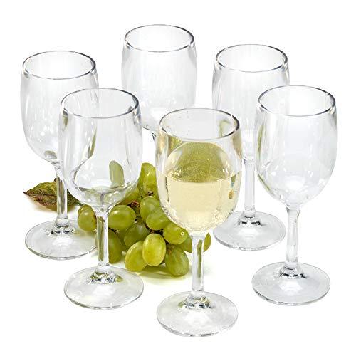 Copas de vino plastico plástico reutilizables vasos agua policarbonato irrompibles 26cl - Juego de 6 copas