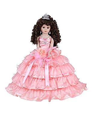 "Kinnex Collections by Amanda 18"" Porcelain Quinceanera Umbrella Doll (Table Centerpiece)~Coral~ KK18729-12"