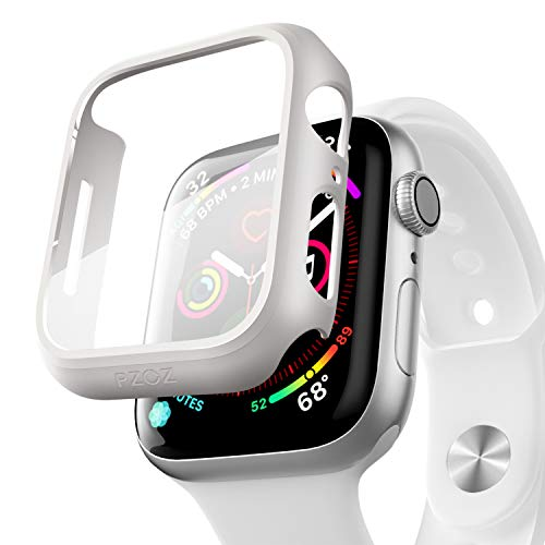 pzoz Compatible Apple Watch Series 5 / Series 4 Case with Screen Protector 44mm Accessories Slim Guard Thin Bumper Full Coverage Matte Hard Cover Defense Edge for Women Men New Gen GPS iWatch (White)