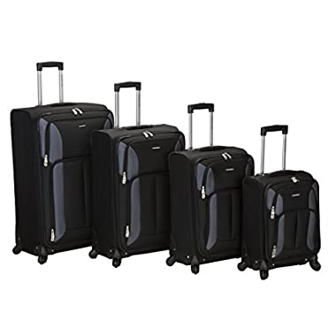 Rockland Luggage Impact Spinner 4 Piece Luggage Set, Black, One Size