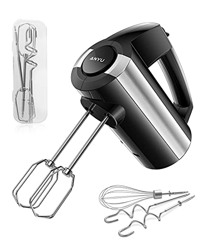 Electric Hand Mixer Whisk: 300W 5 Speeds Handheld Mixer Electric, Turbo Function Includes Beaters Dough Hooks with Storage Case, Electric Whisk Mixer for Baking - Cream Whipper, Egg Beater