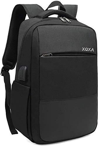 XQXA - Mochila de Viaje para Ordenador portátil con Puerto de Carga USB y Puerto para Auriculares, Mochila para Estudiantes de Colegio y Universidad, Compatible con portátil de 15,6 Pulgadas