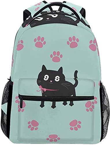 School College Backpack Rucksack Travel Bookbag Outdoor Cat Paw Print Heart