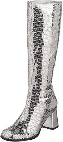 Pleaser Bordello by Damen Spectatcular-300 Pailletten Gogo Stiefel, Silber (Silberfarbene Pailletten), 36 EU
