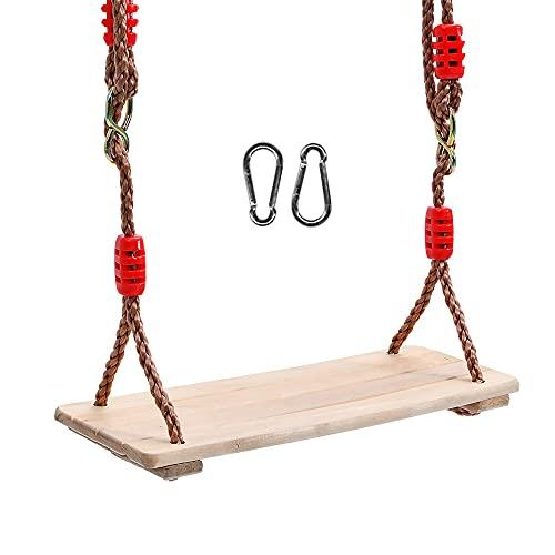 MOPOIN Altalena in legno, altalena da esterno con corda di canapa regolabile, altalena da giardino per adulti altalena da giardino per bambini per esterno da interno