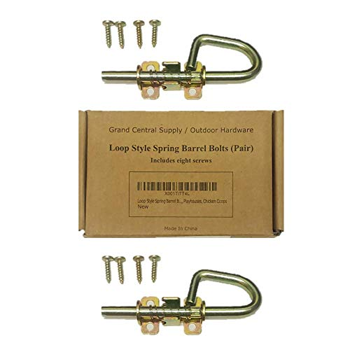 Loop Style Spring Barrel Bolts - 1 Pair - Includes 8 Screws - Shed Door Hardware, Shed Door Barrel Bolts, Barn Door Barrel Bolts for Sheds, Gates, Playhouses, Chicken Coops