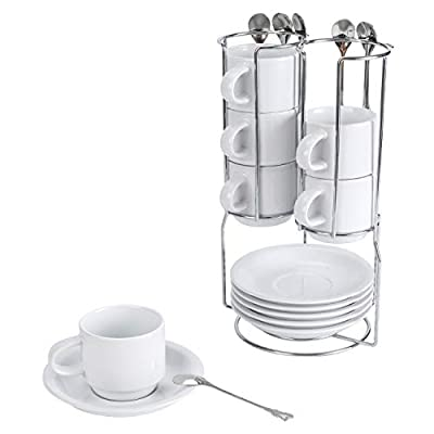 TQVAI Stackable 4 Ounce Espresso Cups with Saucers Tea Spoons and Metal Coffee Mugs Stand - Set of 6, White