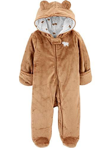 Simple Joys by Carter's Fleece Footed Jumpsuit Pram Snowsuit, Brown, Bear, 0 Months